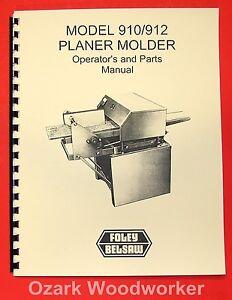 BELSAW FOLEY 910, 912 Planer Molder Operator's & Parts Manual 0061