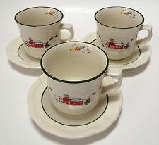 3 Sets Pfaltzgraff Snow Village Cups Mugs And Saucers Coffee Tea Winter Xmas