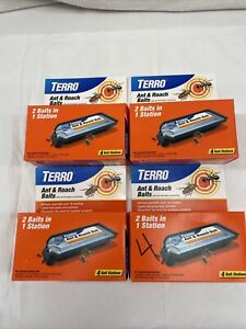 Terro T360 - 4 Pack - 2 In 1 Ant & Roach Bait Stations - LOT OF 4