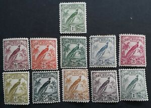 SCARCE 1932- New Guinea lot of 11 Bird of paradise stamps Mint No Date