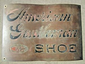 19c AMERICAN GENTLEMAN SHOE Sign HAMILTON BROWN Co LARGEST IN THE WORLD