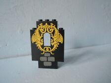 Légo 1 Pan de mur d'angle  de chateau Noir  avec motif