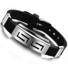 Fashion Mens Black Rubber Stainless Steel Bracelet Wristband Cuff Bangle Jewelry