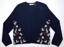 Tory Burch Blue XL Sweater Shrug New Womens Embroidered Multicolor Open Cardigan