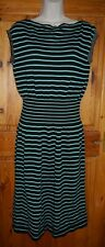 Prada black fine knit jumper sweater dress with teal white stripes - UK 14 BN
