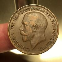 1920 Great Britain Penny Coin, George V, KM# 810, XF   #3048
