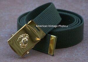 Belt USMC Buckle Web Marine Corps Military Style Semper Fi Grunt Gear w USA P38