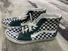 Vintage Authentic Blue & White Checkered High-Top Vans Size 11.5