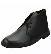 CLARKS Originals Mens Black Beeswax Leather DESERT CHUKKA Boots UK13 F Wide Fit