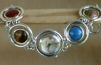 Ecclissi Sterling Multi Gemstone Bracelet Watch With Toggle Clasp New Battery