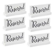 Wooden Reserved Signs for Tables (6-Pack, White); White With Gray Lettering