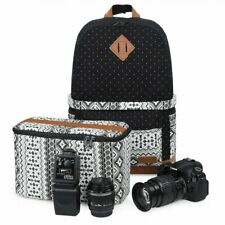 "Koolertron Multifunction Canvas DSLR Camera Bag Padding Case 15"" Laptop Backpack"
