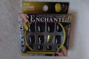 L.A. Colors Artificial Nails Enchanted Halloween Black/Gold Short New