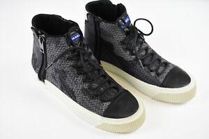 RRP $180 DIESEL ZIP-TURF S-QUEST Men UK9 EUR43 Fabric High Ankle Sneakers 18185_
