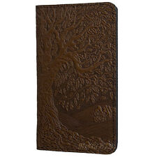 Tree of Life Leather Checkbook Holder Cover by Oberon Design in Chocolate-Brown