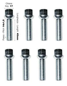 BOULONS DE ROUES QTE X 8 14x1.5 ASSISE SPHERIQUE - LONGUEUR 45 mm - CLE DE 17