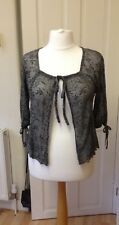 M&S Per Una Lacy Sparkly Silver/Grey Floral Open Cardigan ~ Size 10 ~