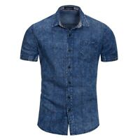 Luxury Mens Denim Shirts Short Sleeves Casual Washed Cotton Multicolor YKD155