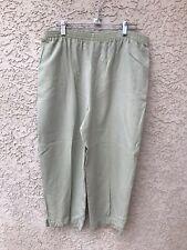 Amy K Su AKS Light Green Elastic Waist Pull On Capri Pants Size Medium