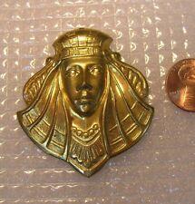 Vintage BRASS  METAL  Art DECO   Egyptian REVIVAL  PHARAOH  PENDANT Finding
