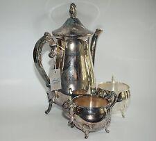 Vintage Leonard Silverplate 3 Piece set Coffee Tea Pot Creamer Sugar Bowl