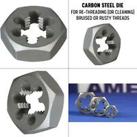 7/16 in.-20 carbon steel left hand hex re-threading die