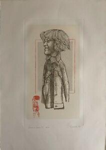 GIUSEPPE GUERRESCHI incisione ritratto di Santina P 1979 70x50 firmata numerata