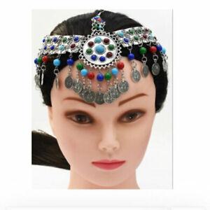 Afghan Women Tribal Alpaca Gypsy Boho Head Chains Silver Coin Tassel Jewelry