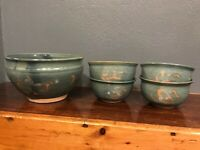 5pc Salad Bowl Set Glazed Pottery Blue Green Signed Diane Braber Pasley KY
