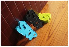 Set of 3 Funny STOP Word DOOR STOPPER Set Kit Safety Guard Holder Doorstop Wedge