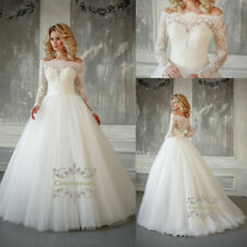 French lace wedding dress Illusion Neck crystal Long Sleeves bridal wedding gown