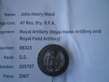 WW 1 Silver Wound Badge Attributed to John Henry Ward with Research Papers