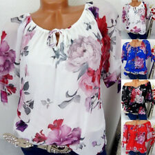 Plus Size Women Floral Strappy Loose Blouse Ladies Short Sleeve Tops Shirt 6-24