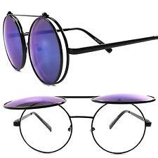 Django Inspired Hip Indie Blue Mirrored Lens Steampunk Round Flip Up Sunglasses