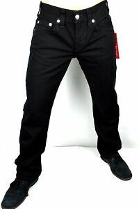 True Religion Men's Ricky Jet Black Relaxed Straight Jeans - 104696
