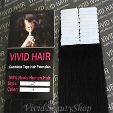 20pcs 22 inches Remy Seamless Tape Skin Weft Human Hair Extensions Jet Black #1