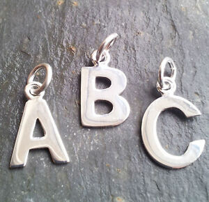 SOLID STERLING SILVER alphabet letter CHARM - all letters available
