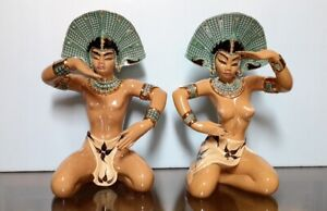 """Dorothy Kindell Antique Balinese Male and Female figurines Nude 14"""" NICE!!!"""