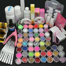 Shimmer Nail Art Glitter Set Acrylic Liquid Powder UV Gel Topcoat False Tips Kit