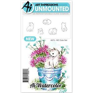 WATERCOLOR Kitty Cats Set Unmounted Rubber Stamp Set ART IMPRESSIONS 4873 New