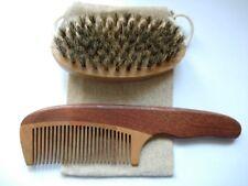 Natural Wood Beard Bristles Brush & Beard Comb Kit For Men Beard Mustache 2018