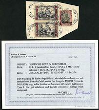 56/DP Türkei 1904 Reichspost 22 I/II + 18 Briefstück ° Befund Steuer BPP