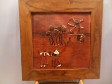 """VTG MALLORCA SPANISH DANCERS PAINTING ON LEATHER IN A WOOD FRAME 7 3/4"""" X 7 3/4"""""""