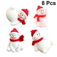 8Pcs Christmas Miniature Ornaments Cartoon Cute Snowman Doll Adornments for Home
