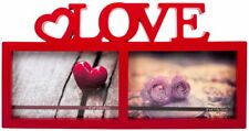 """""""LOVE"""" RED 2 PHOTO PICTURE FRAME FREESTAND OR HANGING"""