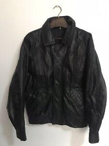 Vintage Leather Jacket Black Retro Style Elasticated Waist Zip Up Size M