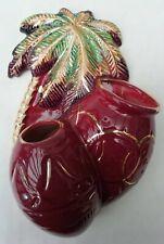 More details for beswick vintage flower pocket wall vase 1063 burgundy palm trees & drums