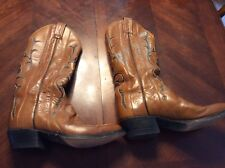 Vintage Womens 7a Tony Lama Honey And Dark Brown Cowboy Boots Style C7782