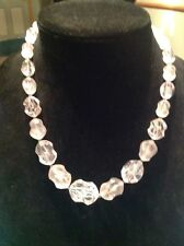 Ladies Chunky Clear  Pink Cast Plastic Beaded Necklace Pre Owned