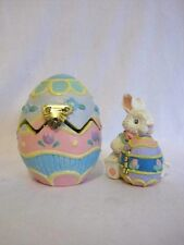 2 Midwest Importers Cannon Falls Bunny Rabbits Eggs Hinged Pop Up Easter Rare